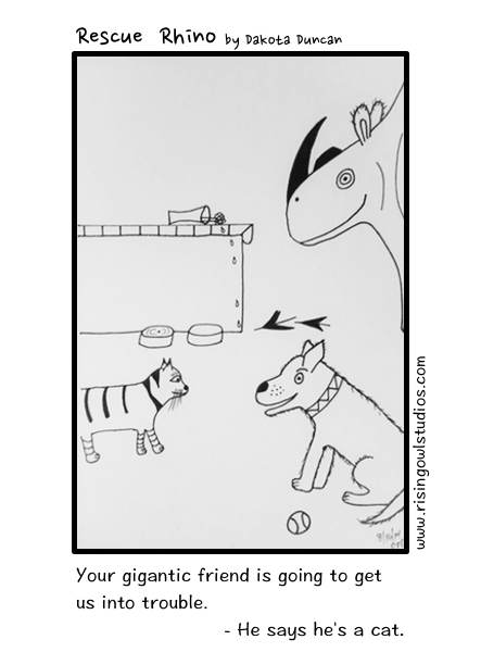 Rescue Rhino - Concerns, pet adoptions, comics, cats, dogs